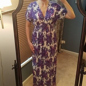 Michael Kors Purple Floral Short Sleeve Maxi Dress
